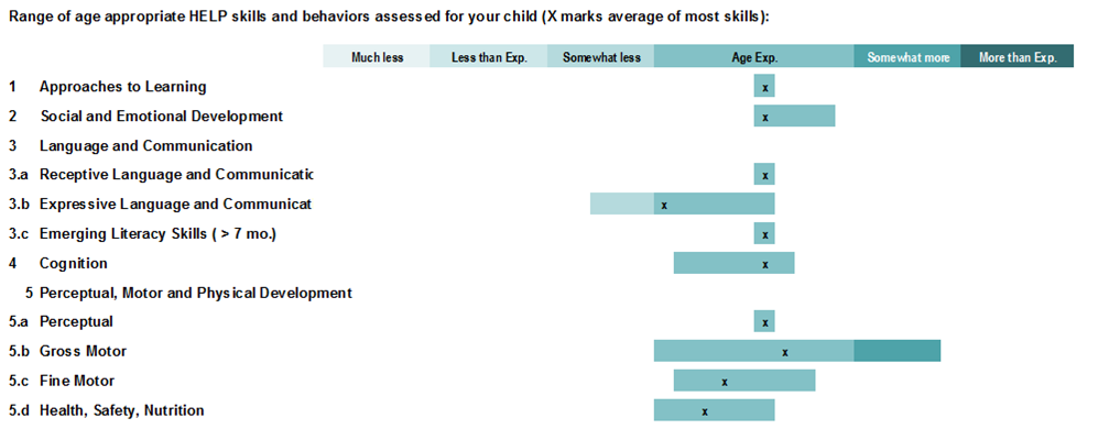 Individual Child Assessment - Range Bars